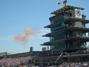 Balloons are released during pre-race ceremonies of the 2014 Indy 500.