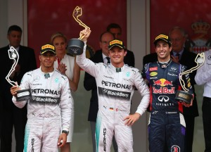 Nico Rosberg, Lewis Hamilton, and Daniel Ricciardo celebrate their podium finishes in Monaco. Photo from f1pictures.tumblr.com.