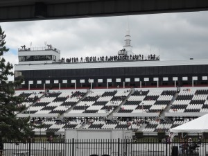 The Pocono Raceway grandstands sit near empty the day before the Pocono 400.
