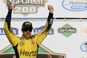 Brad Keselowski celebrates his win at New Hampshire Motor Speedway. Photo from Zimbio.