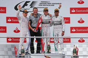 Rosberg, Bottas, and Hamilton celebrate on the podium at Hockenheim. Photo from http://f1pictures.tumblr.com/image/92369189495