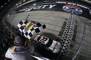 Ryan Blaney takes the checkered in the Food City 300 at Bristol Motor Speedway. Photo by Brian Lawdermilk/NASCAR via Getty Images