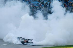 Kevin Harvick celebrates with burnouts following his victory at Chicagoland Speedway. Photo by Matt Sullivan/NASCAR via Getty Images