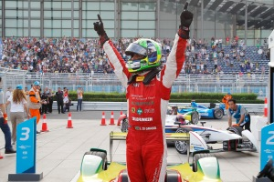Lucas di Grassi celebrates his victory in Beijing. Photo from the Formula E media site.