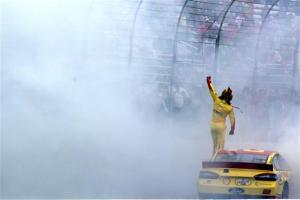 Joey Logano celebrates his win at New Hampshire Motor Speedway on Sunday. Photo by Jerry Markland/NASCAR via Getty Images
