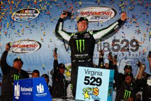 Kyle Busch celebrates in Victory Lane following his Nationwide Series win at Richmond International Raceway. Photo by Brian Lawdermilk/NASCAR via Getty Images