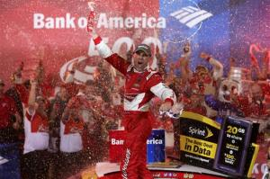 Kevin Harvick celebrates his win at Charlotte Motor Speedway. Photo by Sarah Glenn/Getty Images
