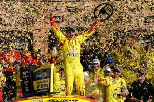 Joey Logano celebrates his Hollywood Casino 400 win in Victory Lane. Photo by Jared Tilton/Getty Images