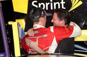 Kevin Harvick shares a moment with team owner Tony Stewart following the race. Photo by Todd Warshaw/Getty Images for NASCAR