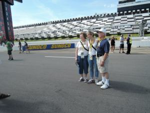 Fans take a picture at Pocono Raceway prior to the Pocono 400.