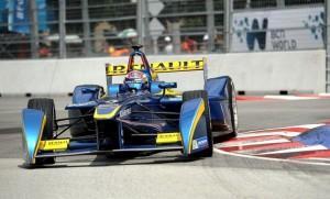 Sebastien Buemi takes a turn during a race. Photo by Robertus Pudyanto/Getty Images AsiaPac